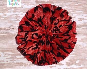 ON SALE Set of 2 Red / Black Damask Print Swirl Satin Chiffon Twirl Flowers - Supplies, Baby Headband, Wedding, Craft projects, Sewing