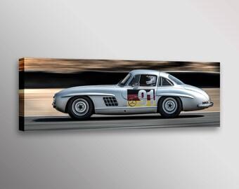 Classic Mercedes Benz 300SL Gullwing Racecar Automotive Car Photo Wall Art Canvas Print 12