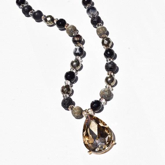Black agate pyrite lava stone beaded long necklace