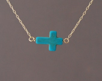 Horizontal Sideways Turquoise Cross Necklace in gold, rose gold or silver