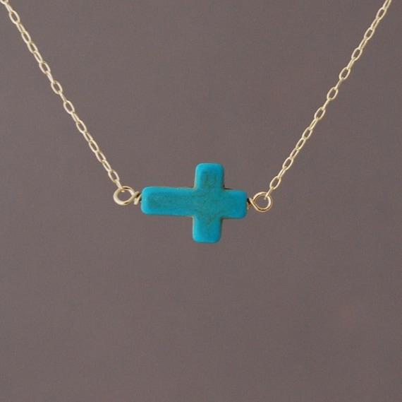 Horizontal sideways turquoise cross necklace in gold rose aloadofball Images