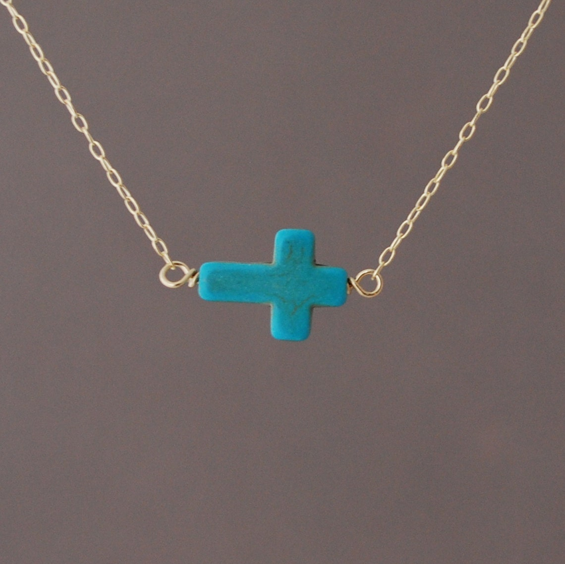 Horizontal sideways turquoise cross necklace in gold rose zoom aloadofball Image collections