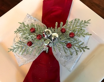 Napkin Rings - green cedar branches and silver jingle bells with snowflake ribbon - Christmas