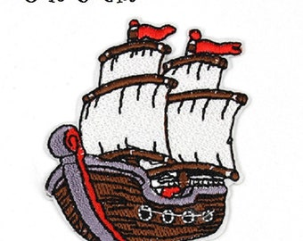 PATCH PATCH - Boat Pirate ship Sea * 5 x 6 cm * embroidered patch Applique