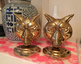 Vintage Solid Brass Fox Bookends Brass Bookends Brass Foxes Brass Wolf Bookends Fox Busts Brass animal bookends english foxes