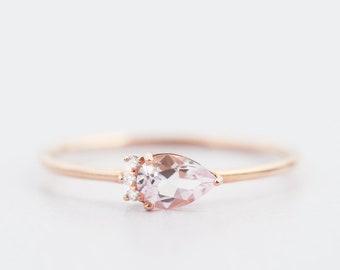 morganite diamond engagement ring, morganite rose gold ring, pear morganite ring, morganite and diamond ring, alternative engagement ring