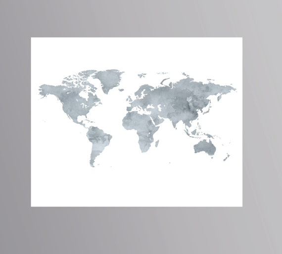 Printable Grey World Map Watercolor Wanderlust Poster Download - Grey world map poster