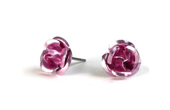 Dark pink aluminum rose flower hypoallergenic studs earrings (227)
