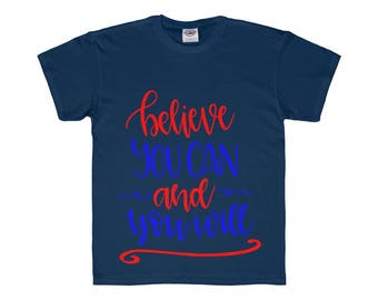 Blue Red Believe You Can Youth Regular Fit Tee