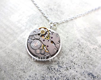 Vintage Steampunk Watch Movement Necklace - Genuine Russian Watch Movements in 20mm Silver Pendant Setting - Clock Necklace Charm