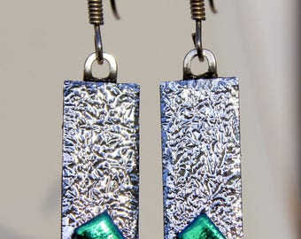 Silver and emerald green earrings / Silver earrings / Dichroic earrings / Silver earrings