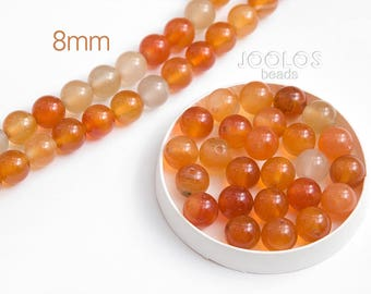 Multicolor carnelian beads 8mm Yellow stone beads Natural rund gemstones Orange stone bead Jewelry making beads / 10 beads About 7-8 cm