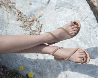 Ancient greek sandals, Classic sandals, Hand made leather sandals,Wedding sandals,  Gold sandals, Women sandals, NY leather stories