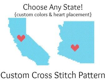 Custom State Love Hometown Map Cross Stitch PATTERN - Choose Any U.S. State