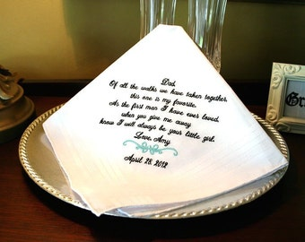 Father of The Bride Handkerchief  -Hankie -  Hanky - Gift for Father of the Bride  - Wedding  - Abbytrey