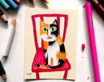 ORIGINAL DRAWING Cute Calico Cat folk art colored pencil illustration cat on a red chair mat included artwork by Tascha