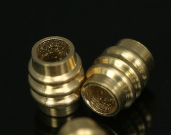 50 pcs 5x6 mm (hole 3 mm) raw brass cylinder industrial brass findings spacer bead bab3 1739