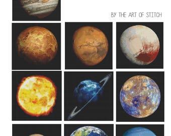 Planets Cross Stitch Pattern PDF, Planetary Cross Stitch Chart Series, Space Cross Stitch, Art Cross Stitch, A Set of 10 Planets (BOOK03)