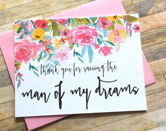 Thank You for Raising the Man of My Dreams Wedding Card for Mother in Law - Father in Law Wedding Day Thank You Mom - WILDFLOWERS