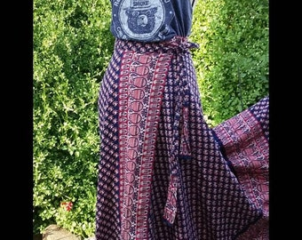 ViNtAgE 1970's indian block print wrap maxi skirt. LOVE!!