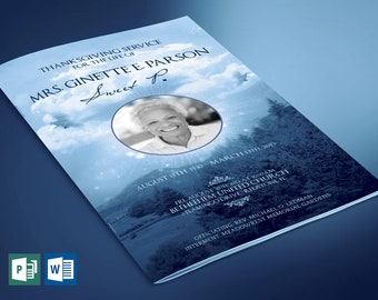 Blue Sky Funeral Program Large Word Publisher Template