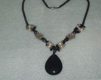 Hematite and Natural Pearl Necklace & Black Onyx Pendant