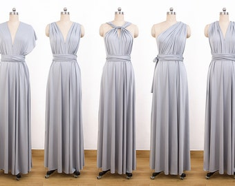 Gray Maxi Infinity Dress, Convertible Bridesmaid Dress, cheap prom dress, Evening Dress,Multiway Dress, Wrap Dress, formal Dress