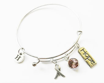 Breast Cancer Awareness  Charm Bangle, Breast Cancer Awareness Silver Charm Bracelet, Personalized, Initial, Wire Bangle, Awareness