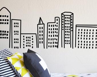 Hand drawn buildings - Die Cut Decal - WALL DECAL