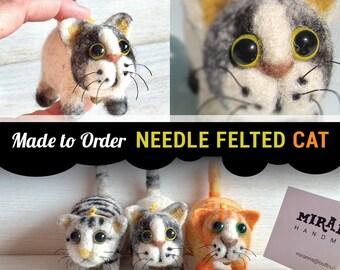 Made to order needle felted cat-Custom needle felt animal sculpture
