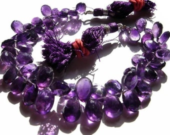 Full 8 Inches Natural African Amethyst Faceted Pear Briolettes Size 9x7 - 10x8mm Finest Quality Wholesale Price