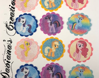 My little pony cupcake toppers, favor tags pr center piece cuttouts