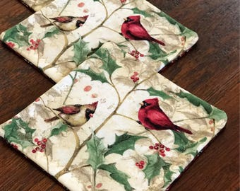 Winter cardinal hollyberry set of 4 quilted mug rugs