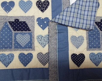 country printed. hand quilted pillow covers only with zippers 12x12
