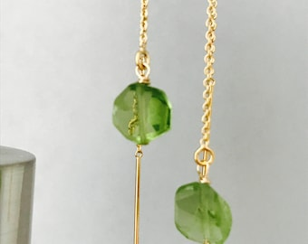 Tiny Peridot Earrings  Raw Peridot Earrings Peridot Earrings  August Birthstone August Birthday Thread Earrings