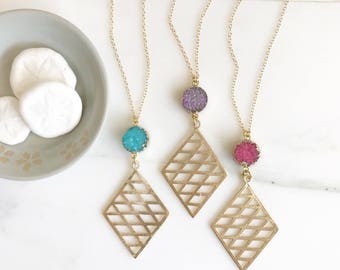 Long Stone Necklace. Long Boho Necklace. Long Gold Pendant Necklace. Bohemian Necklace. Unique Jewelry Gift. Long Pendant Necklace.