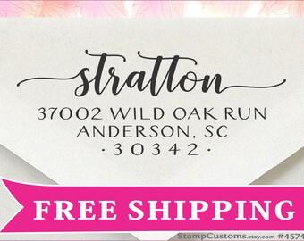Address Stamp  - Custom Rubber Stamp - Self inking Return Address Stamp - Envelope Label Stamper - Wedding Invitation Addressing Stamp -4574