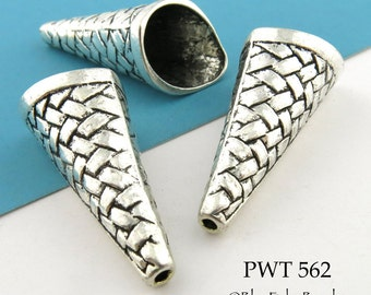 Extra Large Pewter Antique Silver Interwoven Cone Bead Cap 40mm (PWT 562) 2 pcs BlueEchoBeads