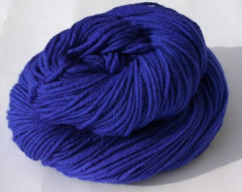 Hand dyed Double knit weight yarn 100% Superwash Merino - brilliant blue