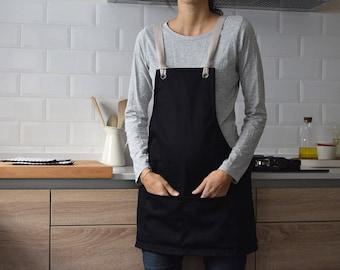 GARDEN BLACK SHORT Apron. Multi pocket. Unique size. Cotton made cross back apron with cotton straps for florists, gardeners, tenders,...