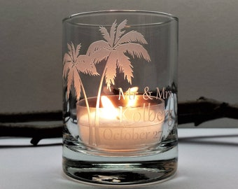 Palm Tree Favors Personalized 72 pcs Beach Wedding Engraved Glass Candle Holders Tropical Custom Event Decor