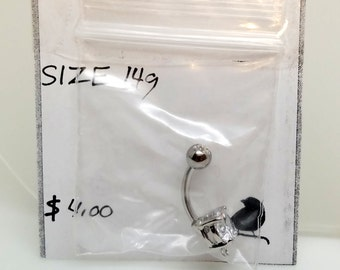 CZ Belly Button Jewelry 14g surgical stainless steel with end loop so you can personalize with your own dangle