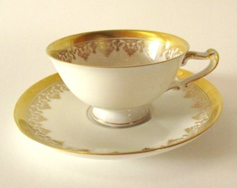 Antique Tea Cup / Demitasse Cup and Saucer / H & Co. Selb Bavaria Germany Heinrich / Victorian Tea Cup / Tea Cup Sets / Gold / White