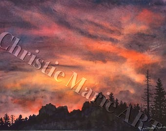 """Landscape Original Watercolor paintng Art """"Tahoe Expressions"""" sunset w silhouetted forest pine trees Christie Marie E Russell ©"""