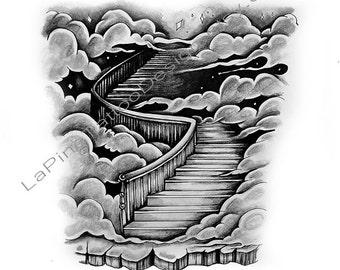Stairway to Heaven/Clouds ~ Tattoo Design