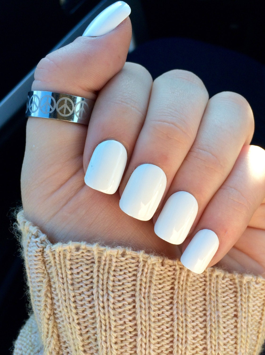 White nails, fake nails, white acrylic nails, false nails from ...