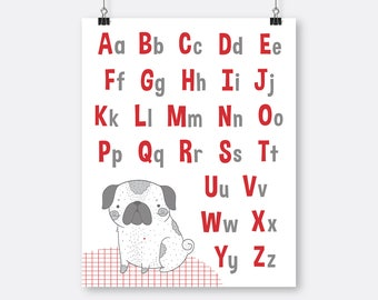 Red Alphabet Art Printable Pug Puppy , Toddler Wall Art Alphabet, Letters Printable, Toddler Room Wall Art, Big Boy Art Toddler Red Grey