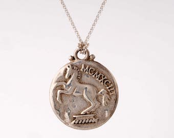 Silver horse pendant etsy engraved round pendant necklace925 sterling silver horse pendant engraved silver pendant for men mozeypictures Image collections