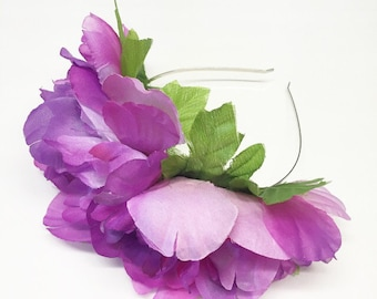 Violet Peony Flower Crown with Leaves