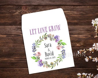 Let Love Grow, Seed Packet Favor, Summer Wedding, Wedding Favor, Watercolor, Seed Packet Envelopes, White Seed Packets, Wedding Favor x 25